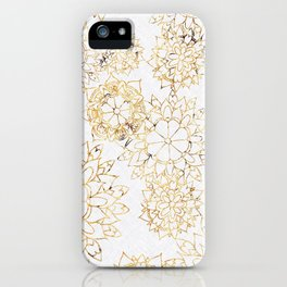 Modern hand painted brown yellow watercolor floral illustration iPhone Case