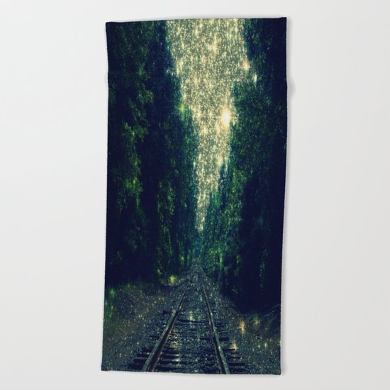 Dreamy Train Tracks Beach Towel