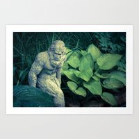bigfoot Art Prints featuring Bigfoot Sighted by Lyle Hatch