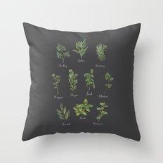 HERBS on black Throw Pillow
