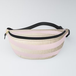 Stripes White Gold Sands on Pink Flamingo Fanny Pack