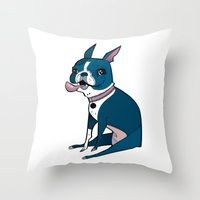 boston terrier Throw Pillows featuring Boston Terrier by breakfastjones