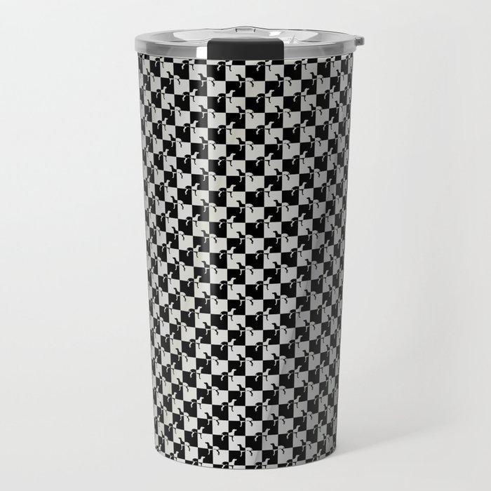 Black and Silver Gray Ghost Checkerboard Weimaraner Travel Mug