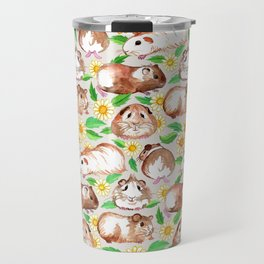 Guinea Pigs and Daisies in Watercolor Travel Mug