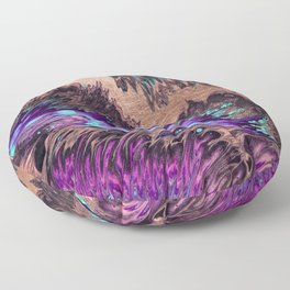 Abstract artistic teal violet rose gold watercolor waves Floor Pillow