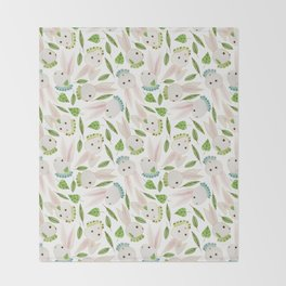 Rabbits in Ruffles Throw Blanket