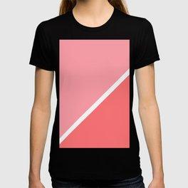Modern minimalist geometric pink coral color block T-shirt