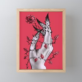 Creepy Deformed Hand With Rose And Thorns | Digital Art Framed Mini Art Print