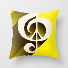 Yellow Retro Shadow Music & Peace Throw Pillow