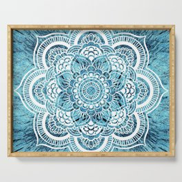 Mandala Aqua Turquoise Colorburst Serving Tray