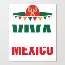 Viva Mexico With Sombrero Flag Colors Cinco Canvas Print