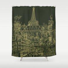 Paris! Olive Shower Curtain