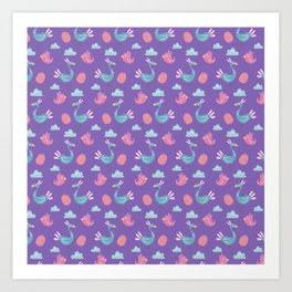 Modern green pink violet hand drawn birds pattern Art Print