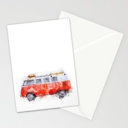 Camper Bus - retro camping van painting / illustration Stationery Cards