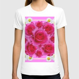 Purple Fuchsia Rose & Daisy  Flowers Art Design Abstract T-shirt