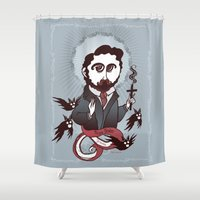 writer Shower Curtains featuring Bram Stoker Holy Writer by roberto lanznaster