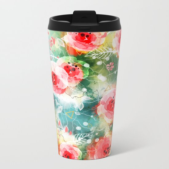 Abstract painting nature and geometric Metal Travel Mug