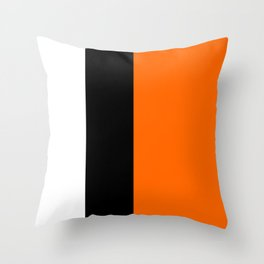 Modern White Black Orange Colorblock Throw Pillow