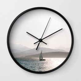 Sunset at the arctic, Tromsø Norway || Travel photography midsommar lapland Norwegian snow mountains misty fog sailboat water  Wall Clock