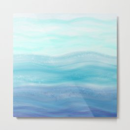 Sea Waves, Abstract Watercolor Painting Metal Print