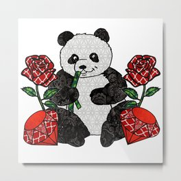 Panda with red rubies and red roses Metal Print