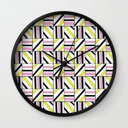symetric tartan and gingham 2 -vichy, gingham,strip,square,geometric, sober,tartan Wall Clock