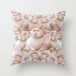 cage cat collage Throw Pillow