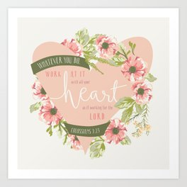 """All Your Heart"" Floral Bible Verse Print Art Print"