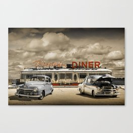 Historic Rosie's Diner with Vintage Classic 50's Automobiles Canvas Print