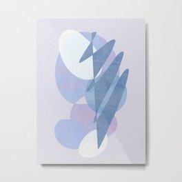 Minimal pebbles balance 1 blue and pink Metal Print