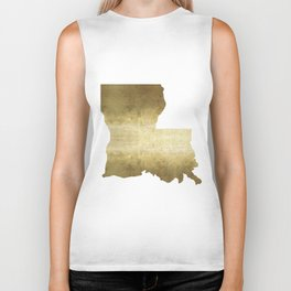 louisiana gold foil state map Biker Tank
