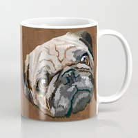 pug Mugs featuring pug by Ancello