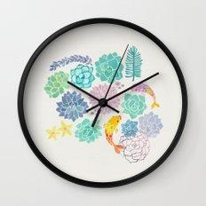 A Serene Succulent Underwater World Wall Clock