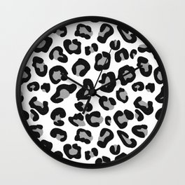 Leopard Print in Black and White with Gray / Grey Wall Clock