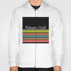 The fitness club . Sport . Colorful stripes on black background . Hoody