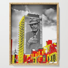 Leonard Cohen Mural Montreal Digital Paint on Photo Serving Tray