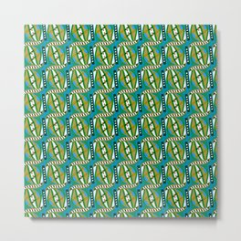 Retro Abstract Wave in Green & Blue + Contemporary Graphic Design Illustration by Limolida Metal Print