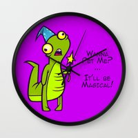 wizard Wall Clocks featuring Wizard Lizard by Artistic Dyslexia