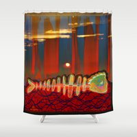 selena gomez Shower Curtains featuring Dry Swimming  / Trapped by Menchulica