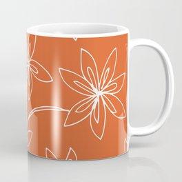 Flower Drawing on Orange Coffee Mug