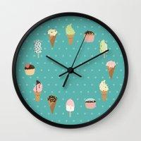 dessert Wall Clocks featuring Dessert by Olya Yang