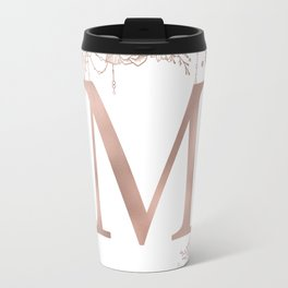Letter M Rose Gold Pink Initial Monogram Travel Mug