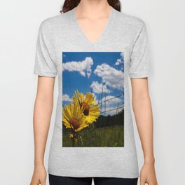 A Rocky Mountain Sunflower Unisex V-Neck