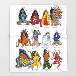 Her Moods - Watercolor Chart of the Emotions of the Female Mind Throw Blanket