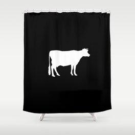 Cow: Black Shower Curtain