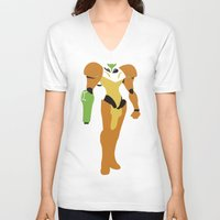 metroid V-neck T-shirts featuring Metroid - Minimalist by Adrian Mentus