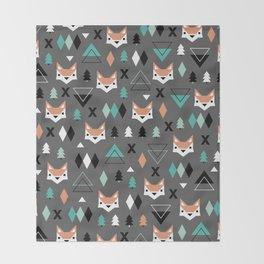 Geometric fox woodland forest pattern Throw Blanket