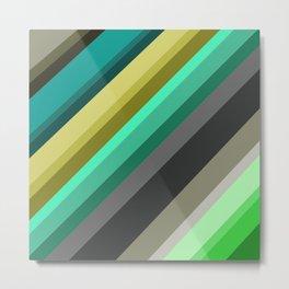 green brown yellow grey stripes Metal Print