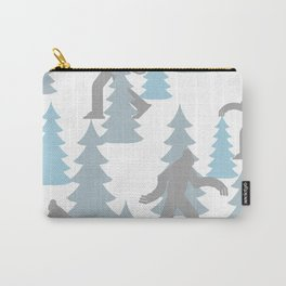 Pastel Blue Grey Winter Forest Yeti sasquatch silhouette  Abominable Snowman BigFoot  Carry-All Pouch