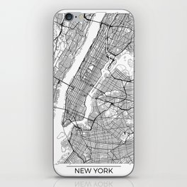 New York City Neutral Map Art Print iPhone Skin